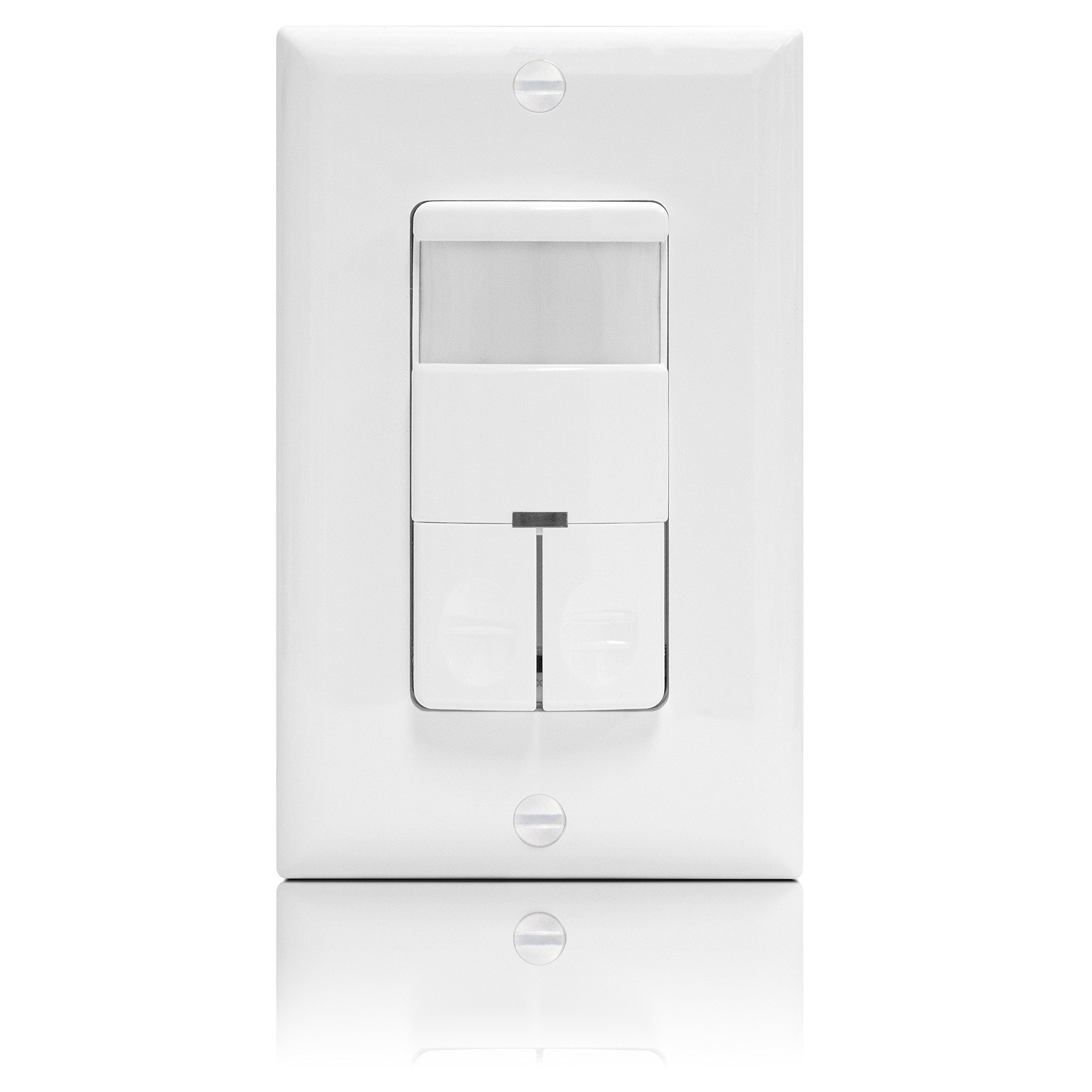 Enerlites DWOS-JD Motion Sensor Switch Dual Relay, Bi-Level Occupancy / Vacancy Sensor, PIR Passive Infrared, NO NEUTRAL WIRE REQUIRED, White