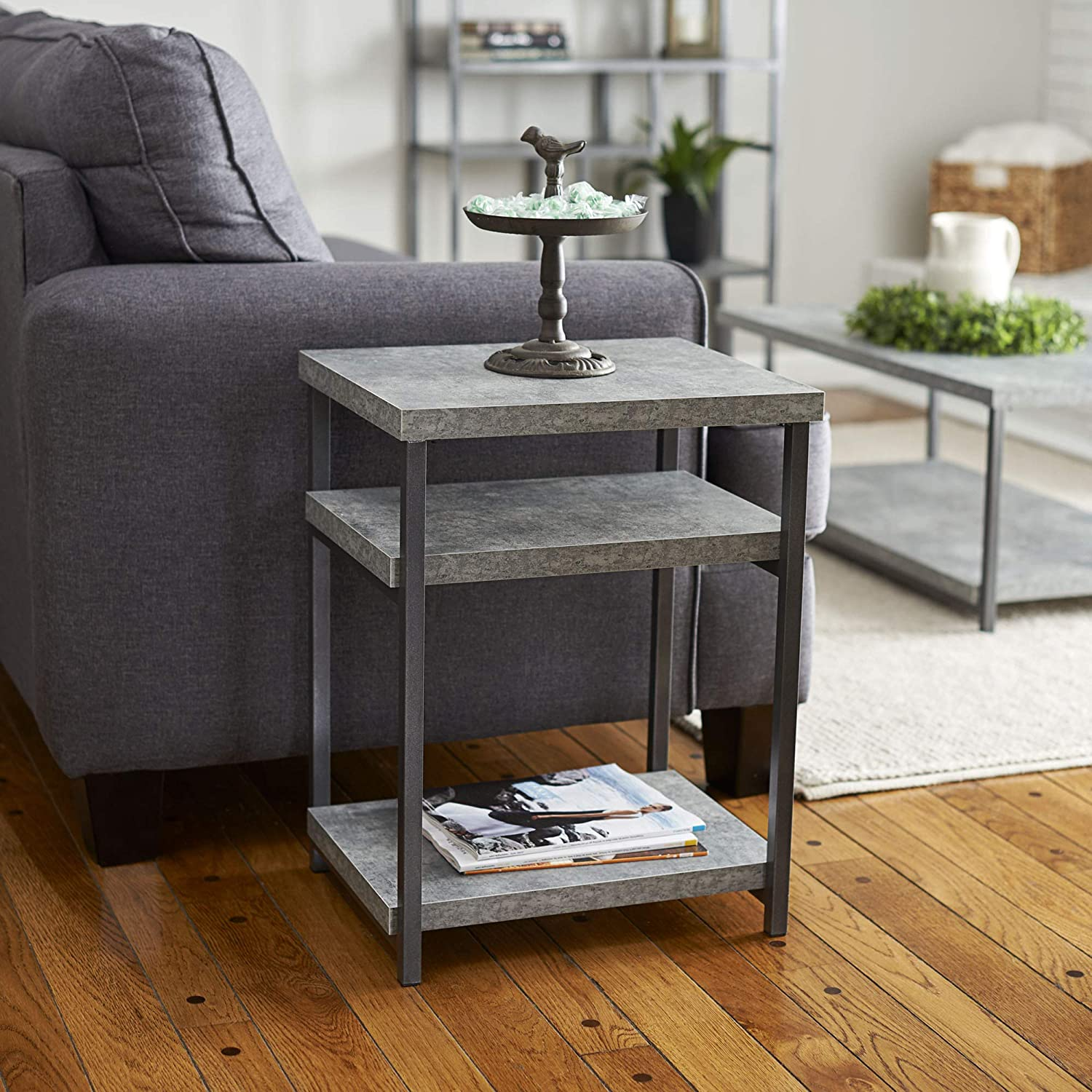 Household Essentials Side Table End Table With Shelf For Storage Faux Slate Concrete Furniture Decor