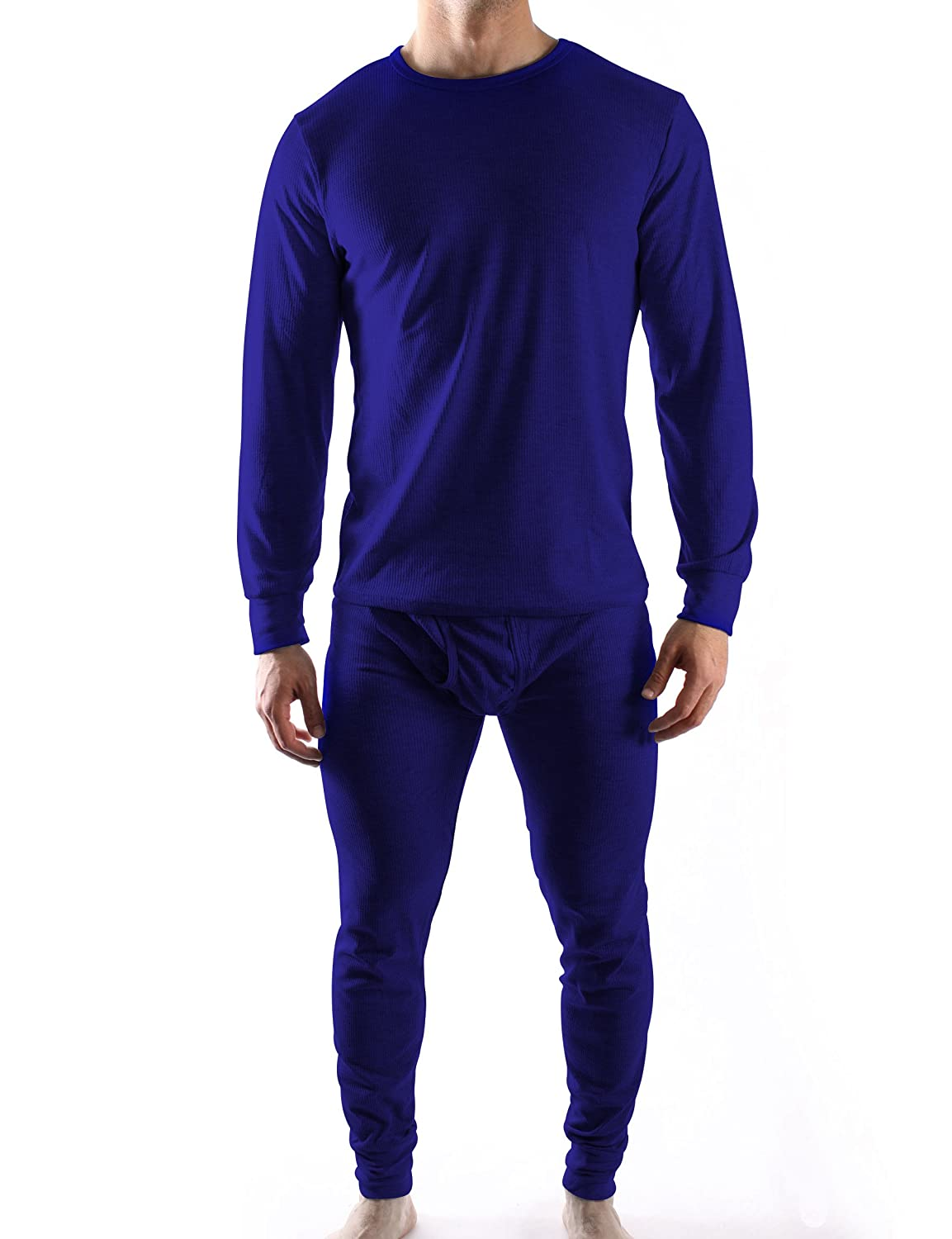 Mens Thermal Underwear Sets Interlock Jersey Or Waffle Knit - Assorted Colors Waffle - Navy)