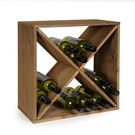 Stackable//Expandable,/ H 50/ x W 50/ x D 25/ cm Tobacco Cube 50 Wine Rack//Bottle Rack System Spruce Wood