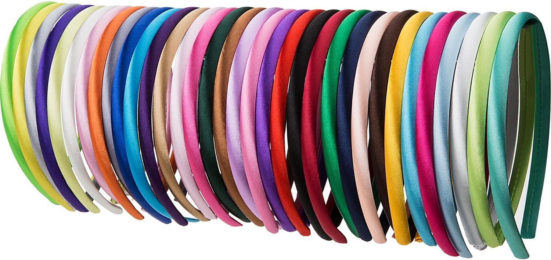34 Piezas 10 mm Diademas de Satén de Niñas Cinta Cubierta de 36 cm de Perímetro Accesorios de Peinado, Multicolor