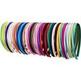 Mudder 34 Pieces 10 mm Baby Girl Satin Headbands Ribbon Covered 36 cm Perimeter Hair Accessories, Multicolor