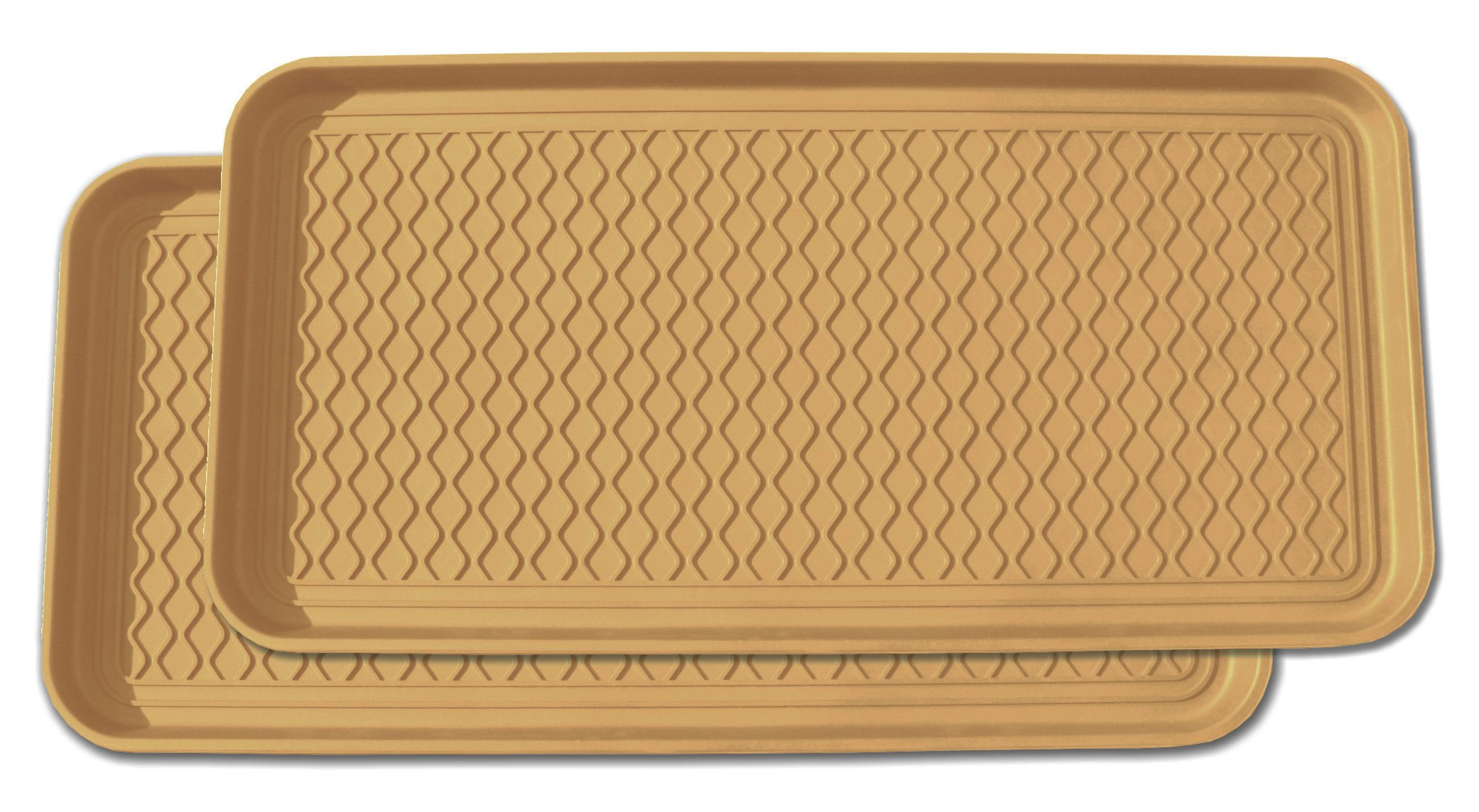 Multi-purpose Tray, for Boots, Shoes, Paint, Pets, Garden, Laundry, Kitchen, Car, Entryway, Garage, Mudroom. Floor Protection, Cat Litter and Dog Feeding Mat - 30x15x1.2 Inches - Beige, Set of 2