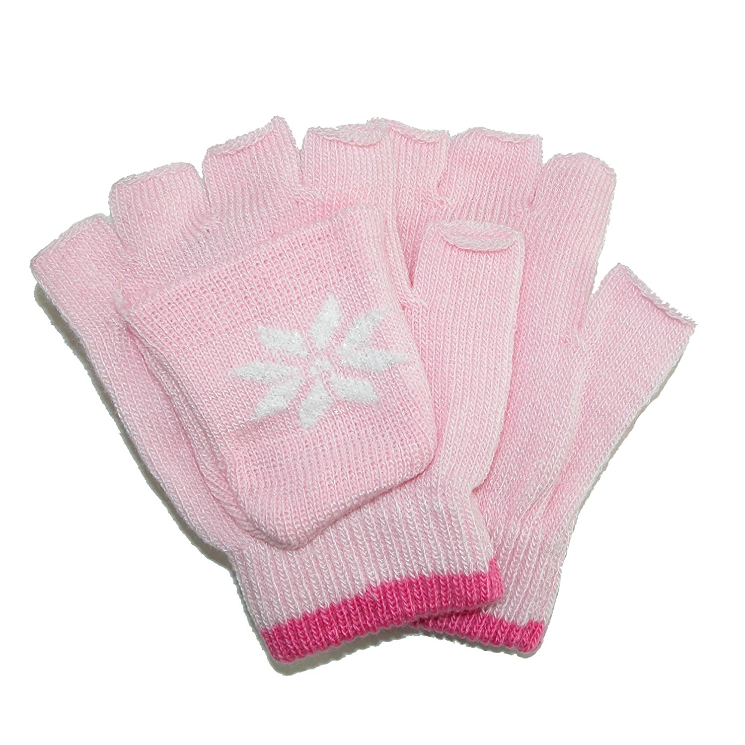 CTM Girls' Stretch Convertible Fingerless Winter Mittens/Gloves, Fuschia/Pink GS-GG-216-DPK