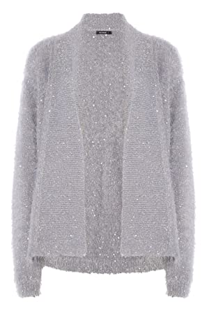 Womens Sequin Fluffy Cardigan - Ladies - Grey - Size 10 - 20 ...