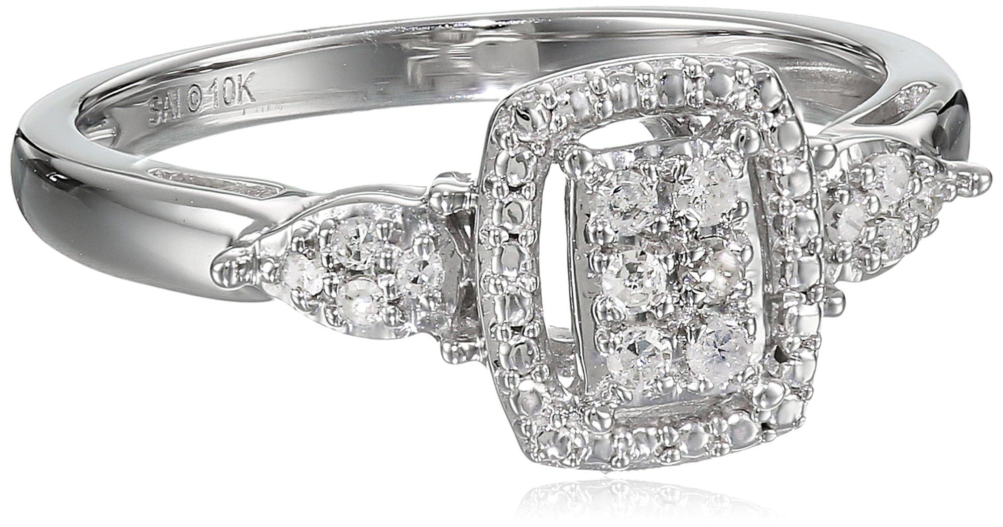 10k White Gold 1/10cttw White Diamond Ring, Size 8