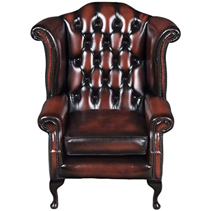 English Classics Vintage Oxblood Leather Wing Back Arm Chair