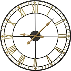 "Stratton Home Décor Stratton Home Decor Oversized 31.50"" Industrial Austin Wall Clock, Black, Gold"