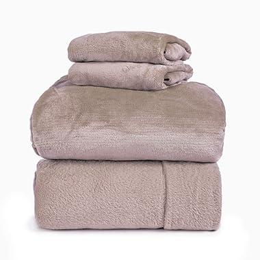 Spyder Insulated Warm Fleece Flannel Plush Sheet Set Pillow Case Flat & Fitted Sheet (New Blush, Queen)