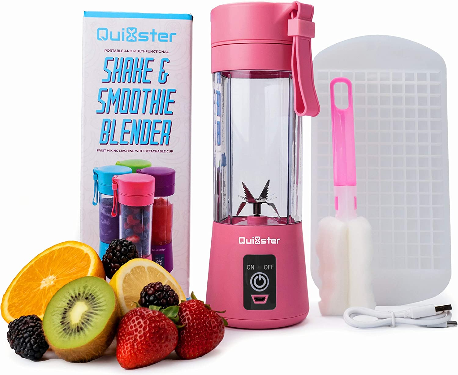 Quixster Portable Blender for Shakes and Smoothies. Personal Size Blender for Shakes and Smoothies. Personal Blender. Mini Blender. USB Rechargeable Travel Juicer including 50 Smoothie Recipes (Rose Red)