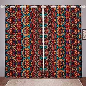 Castle Fairy Bohemian Brown Window Curtains Orange Chic Rose Flower Curtains for Window Doorway Boho Wall Decor Bedroom Bathroom Divider Bohemian Curtains Backdrop Window Set of 2 Panels 104Wx90L