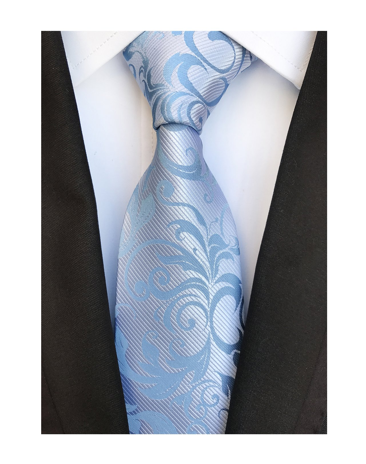 Secdtie Silver Blue Silk Ties Polyester Necktie for Men Boys in Different Color
