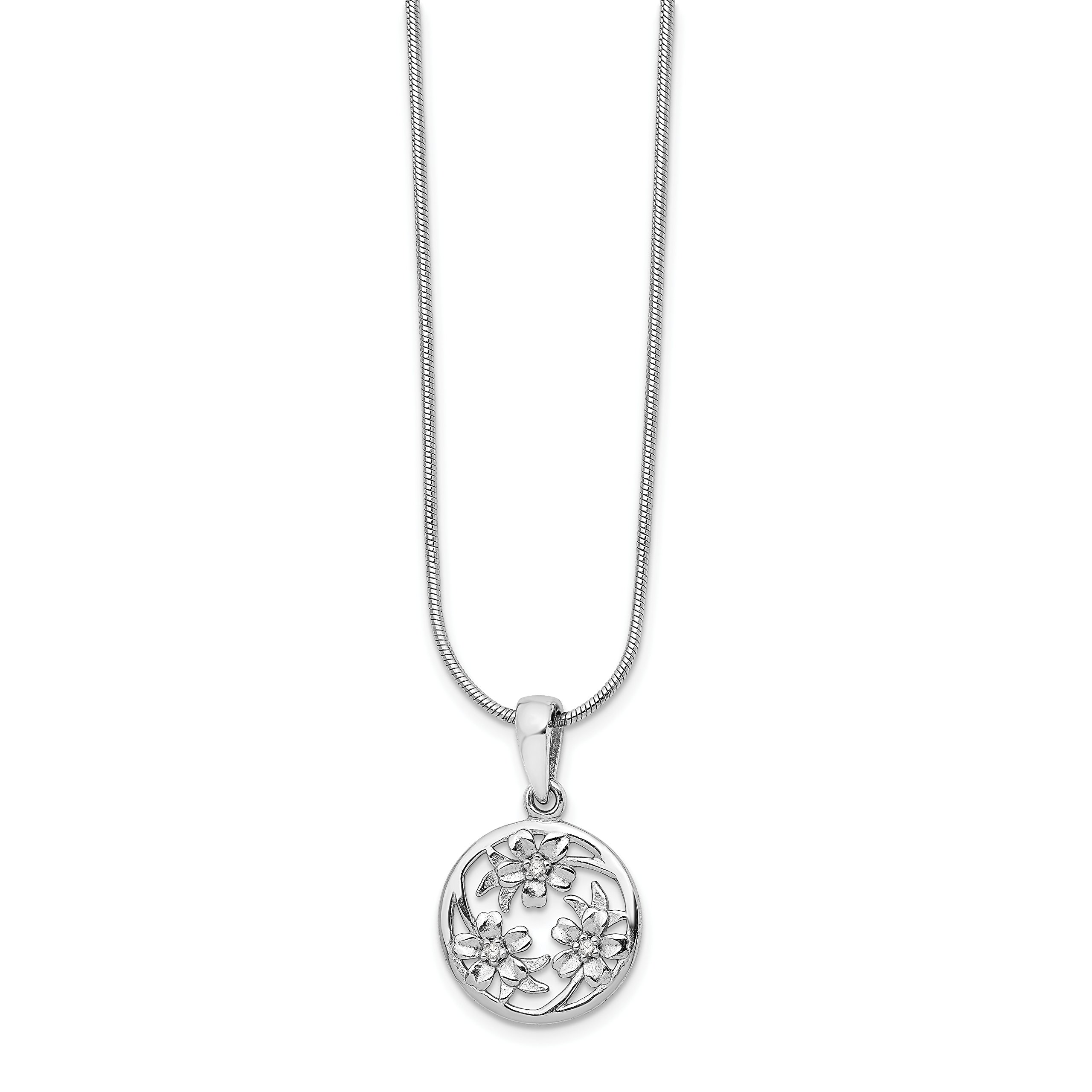 ICE CARATS 925 Sterling Silver Diamond Flower Chain Necklace Floral Fine Jewelry Gift Set For Women Heart