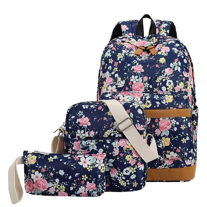 0fde397657a4 School Backpacks for Teen Girls Lightweight Canvas Backpack Bookbags Set (Dark  Blue Flower)