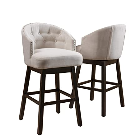 Great Deal Furniture Westman Swivel Bar Stools Full Backed Button Tufted Fabric in Beige Set of 2