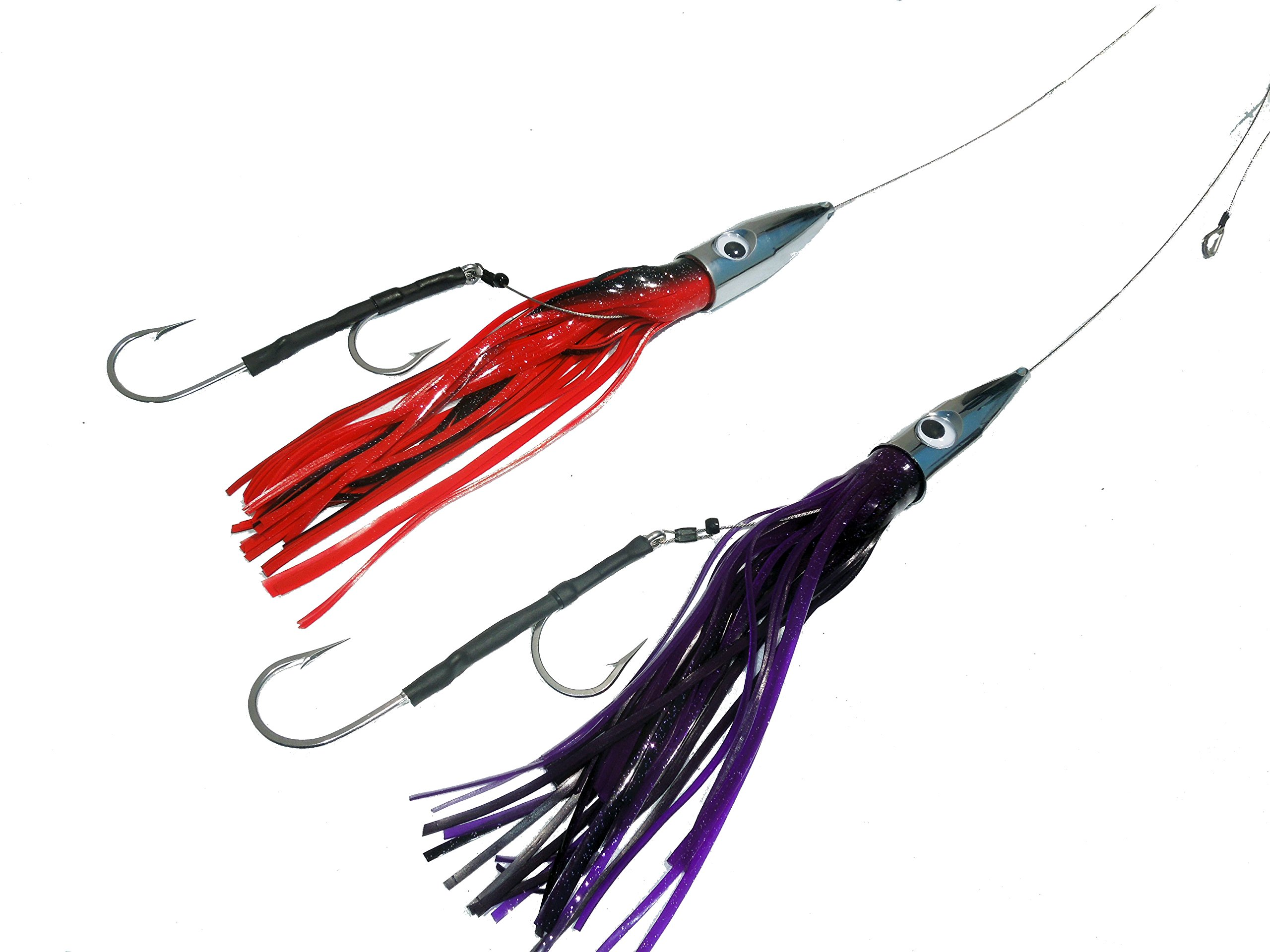 2 Pack Bullet Head Wahoo killer cable rigged trolling lures by EAT MY TACKLE