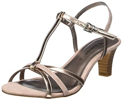 Womens 28329 T-Bar Sandals, Rosa (Rose Met./Glam. 573) Tamaris
