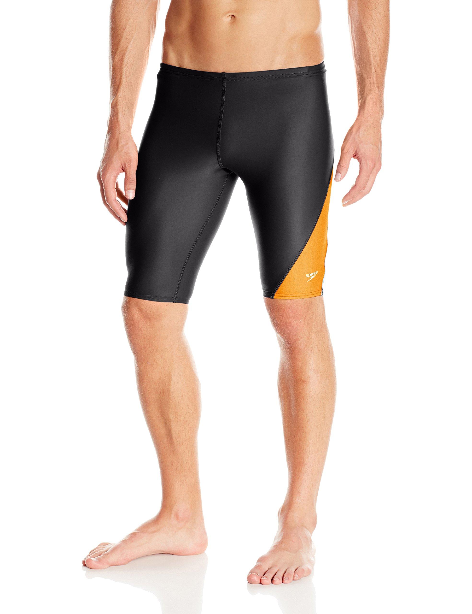 Speedo Men and Boys' Jammer Swimsuit-PowerFLEX Eco Revolve Splice, Orange, 38 by Speedo