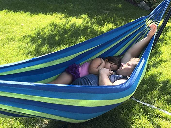 Hammock Sky Brazilian Double Hammock - Two Person Bed for Backyard, Porch, Outdoor and Indoor Use - Soft Woven Cotton Fabric for Supreme Comfort