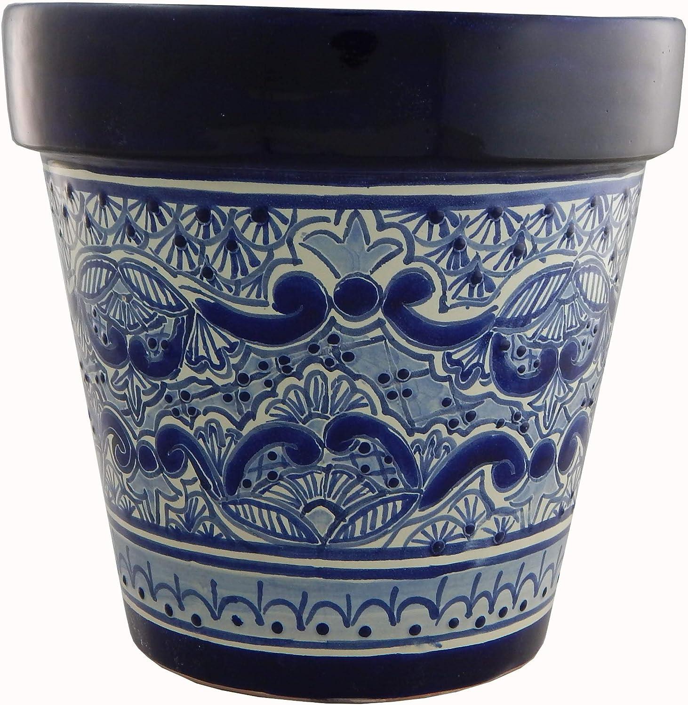 Mexican Talavera Planter Ceramic Flower Pot Folk Art Pottery Garden Handmade # 01