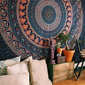 Bless International Indian-Hippie-Gypsy Bohemian-Psychedelic Cotton-Mandala Wall-Hanging-Tapestry-Multi-Color Large-Mandala Hippie-Tapestry (Queen(84x90 Inches))