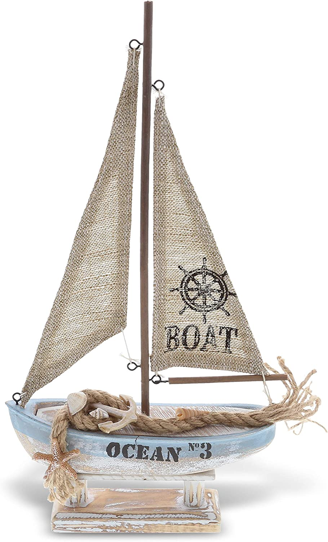 CoTa Global Coastal Horizon Wood Sailboat Model Nautical Decor 14.1 Inch, Wooden Rustic Coastal Decor Boat Ornament, Table & Shelf Boat Beach Decorations for Home, Ocean Theme Party Boat Centerpiece