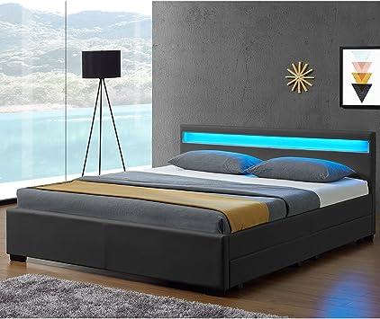 LED Polsterbett 140 160 180 200 x 200 cm Doppel Ehe Bett Gestell Kunst-Leder