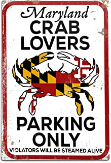 product image for Maryland, Crab Lovers Parking Only (12x18 Aluminum Wall Sign, Wall Decor Ready to Hang)
