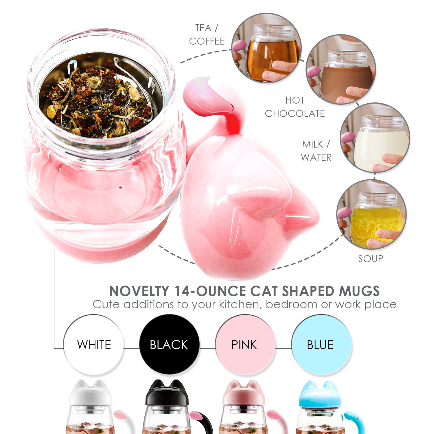 Cute Cat Tea Mug Cup – With Strainer/Infuser - Cat Lover Gifts for Cat Lovers and Women - Cat Themed Stuff Items Presents Things Gift - Portable Pink Travel Glass Mugs and Cups - Kitty Mug Lid 14oz
