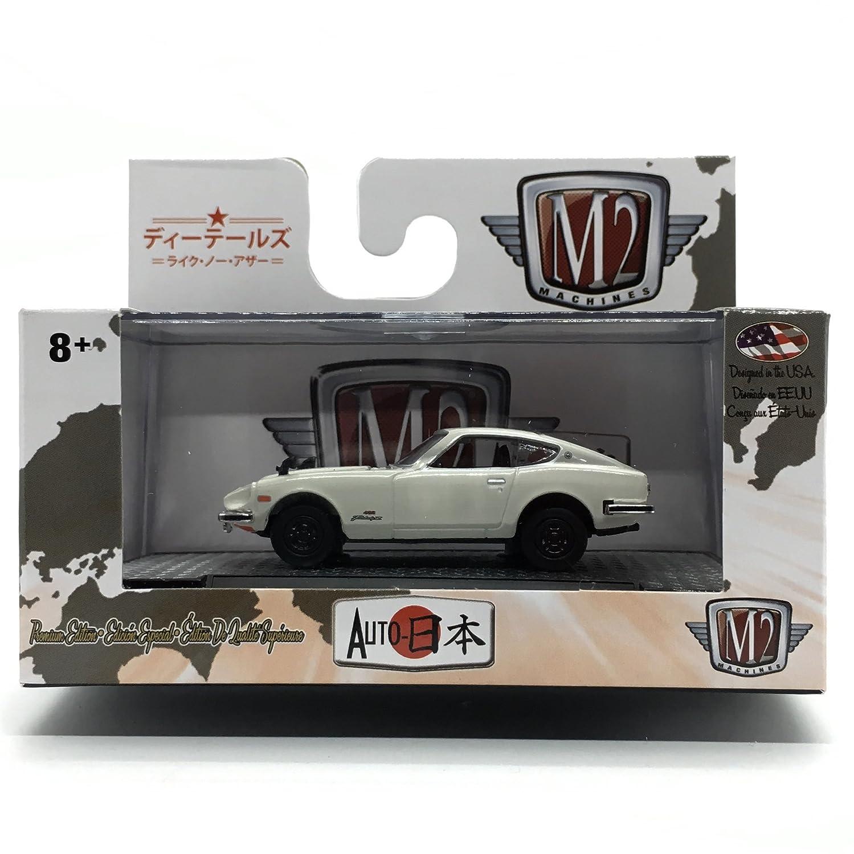 JPN01 17-69 White M2 Machines 1970 Nissan Fairlady Z432 - Auto-Japan Release 1 2017 Castline Premium Edition 1:64 Scale Die-Cast Vehicle /& Display Case Set
