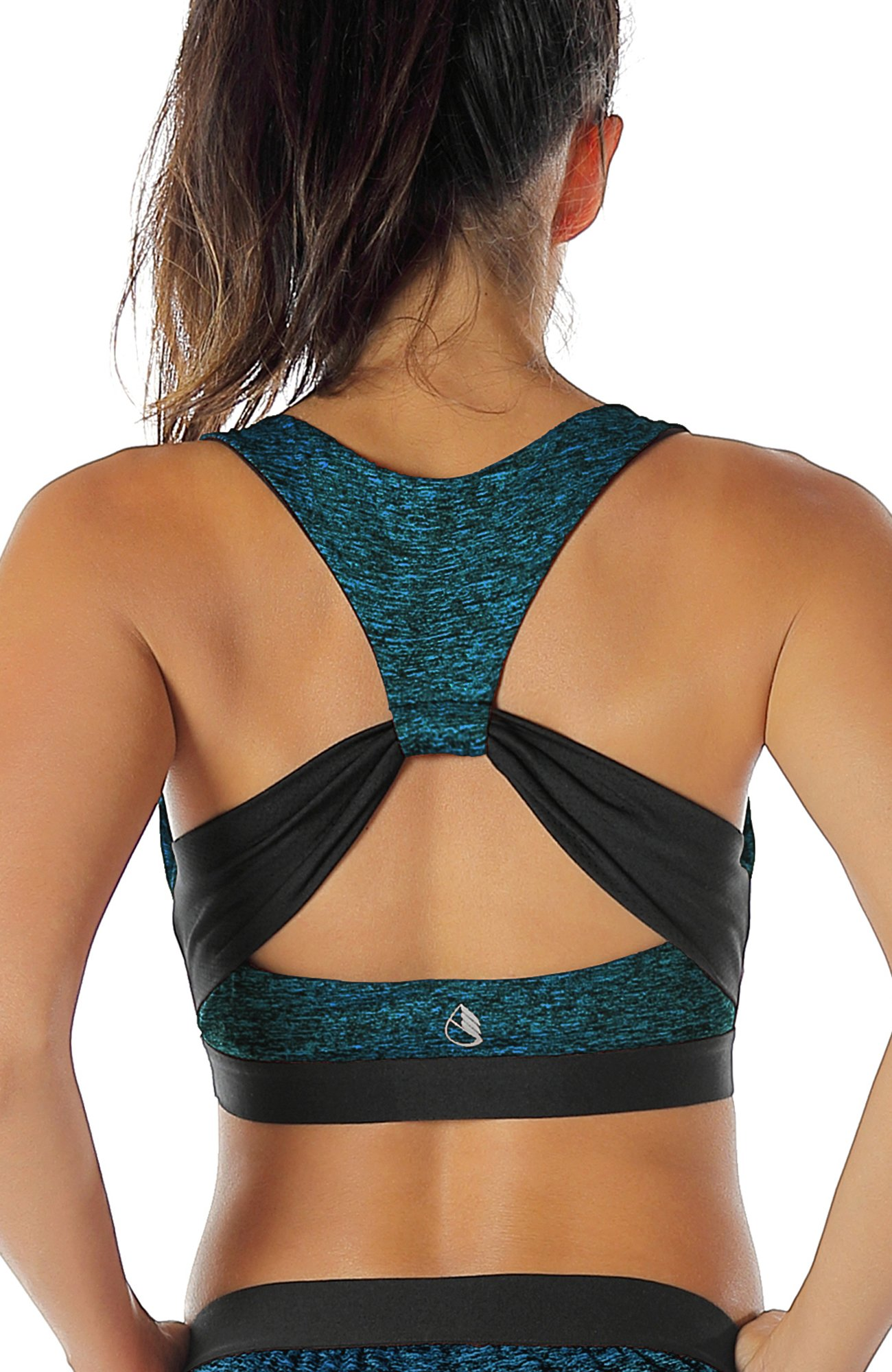 icyzone Workout Yoga Clothes Activewear Moving Comfortable Racerback Sports Bras(M, Royal Blue)