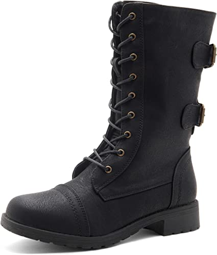 Herstyle Florence2 Women's Ankle Lace Up Military Combat Booties Mid Calf  Boots: Amazon.co.uk: Shoes & Bags