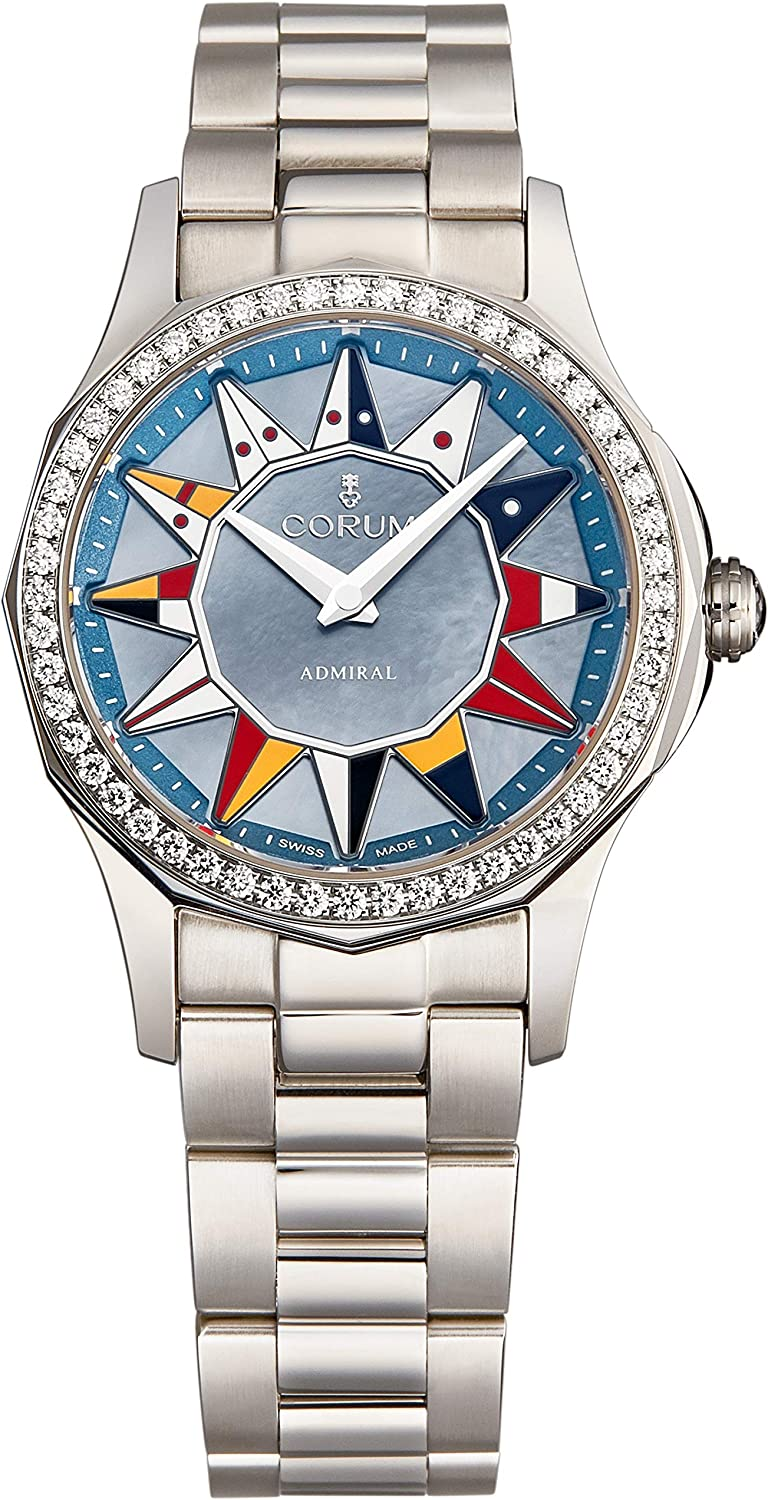 Corum Women's 'Admiral Cup' Automatic Watch - Blue Mother of Pearl Dial with Silver Hands - Sapphire Crystal and Diamond Bezel with Stainless Steel Braclelet Swiss Watch for Women A400/03396