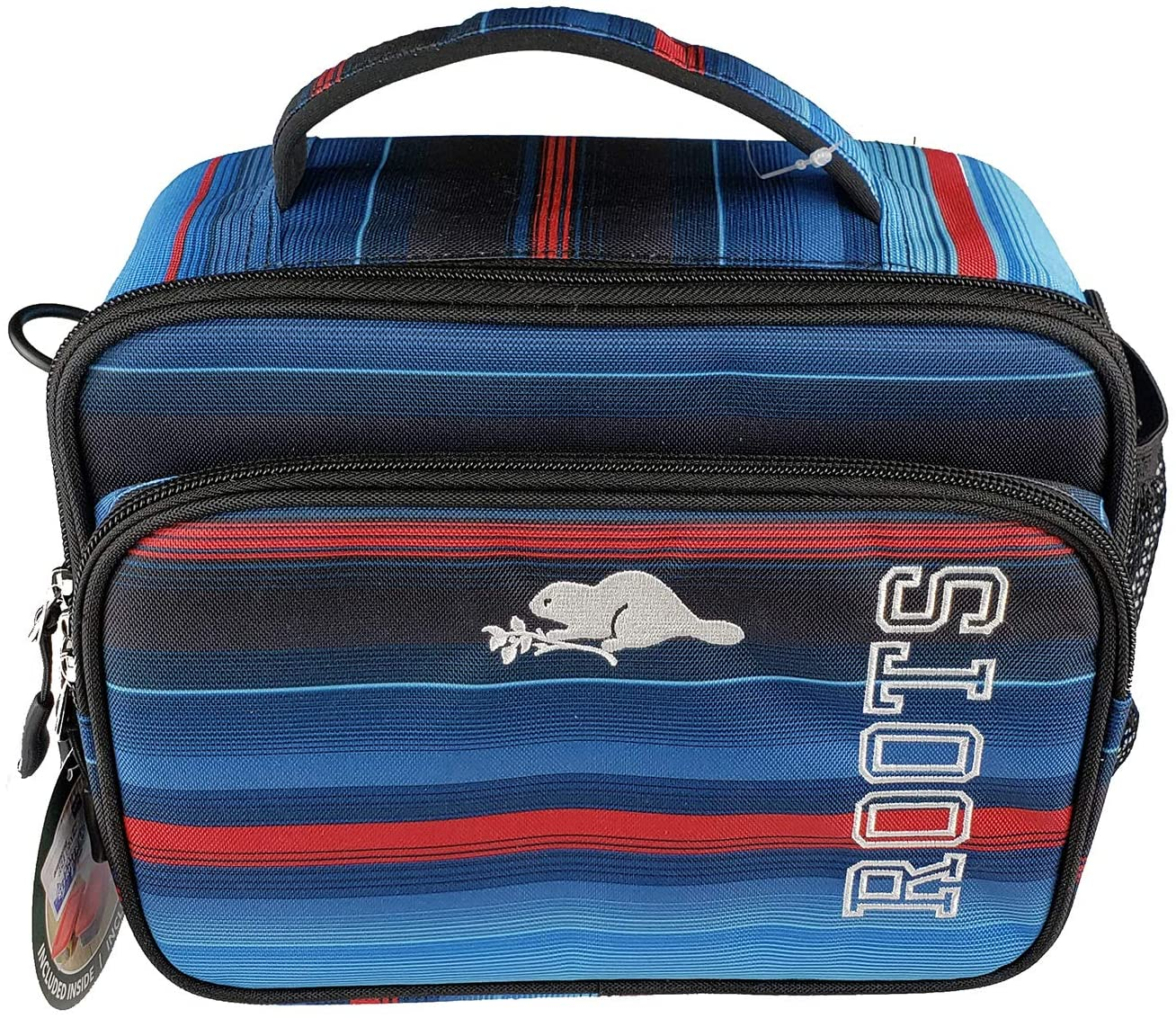 Roots Blue-Red Deluxe Insulated Lunch Box Bag 5 Piece Set