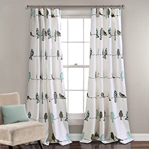 "Lush Decor Rowley Birds Curtains Room Darkening Window Panel Set for Living, Dining, Bedroom (Pair), 84"" L, Blue & Gray"