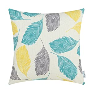 CaliTime Canvas Throw Pillow Cover Case for Couch Sofa Home Decoration Peacock Feathers 18 X 18 inches Grey Yellow Turquoise