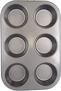 Chef Select Muffin Pan, Standard Size, 6-Cup, Steel, Non-Stick, Fits Perfectly in Toaster Oven