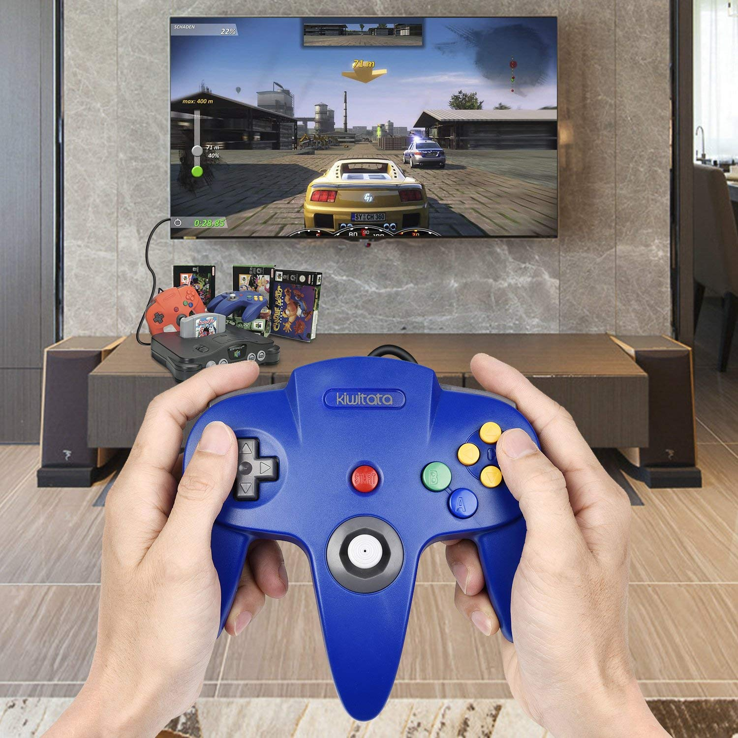 2xClassic N64 Controller,kiwitata Retro Wired Gamepad Controller Joystick for N64 Console Video Games System Red+Blue by kiwitata (Image #7)