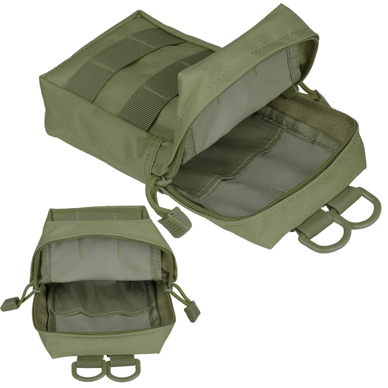 GOHIKING Molle Pouch 2 Pack Tactical Compact EDC Utility Gadget Waist Bag  with 10 Pack Multipurpose D-Ring Grimloc Locking Hook