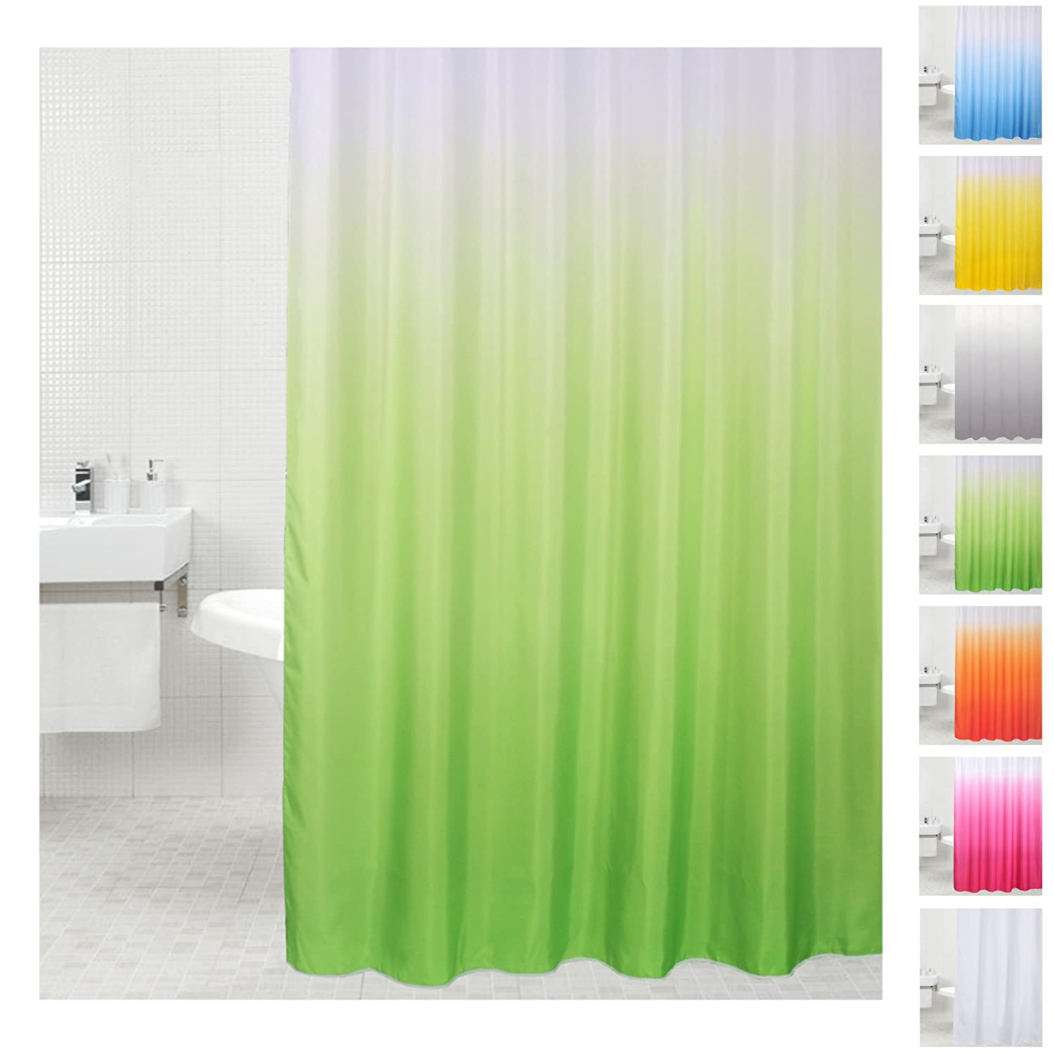 Anti Mildew Shower Curtain Single Colour to Choose From, many Fabric, Fabric, Blue, 180 x 180 cm Sanilo D032599