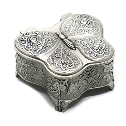 Buorsa Antique Metal Rose Engraving Butterfly Jewelry Box Trinket Jewelry  Storage Keepsake Box For Women,