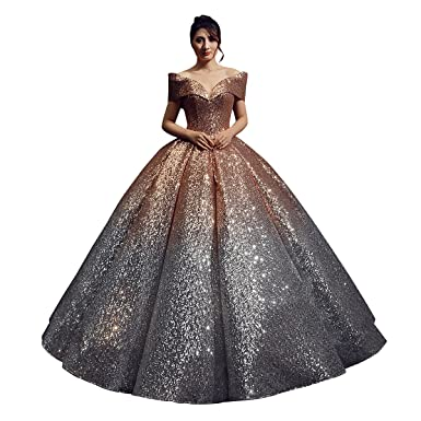 Erosebridal Sparkling Sequined Evening Dresses Gowns V Neck Cap Sleeves Ball Gown Party Dress US 14