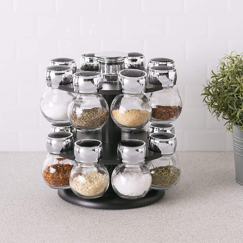 16 Piece Revolving Spice Rack Kemket