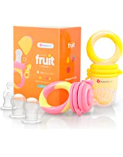 NatureBond Baby Food Feeder/Fruit Feeder Pacifier (2 Pack) - Infant Teething Toy Teether in Appetite Stimulating Colors   Includes 6 PCs All Sizes Silicone Sacs (Peach Pink and Lemonade Yellow)