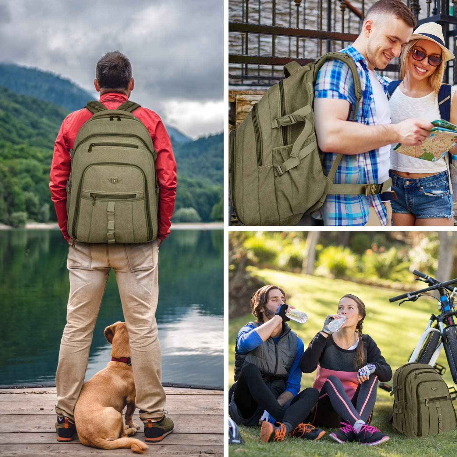 JINLINGDI Outdoor Travel Canvas Backpack Hiking Camping Rucksack Canvas Laptop Daypack for Men and Women