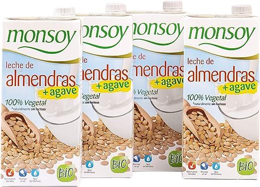 Monsoy - Bebida Ecológica de Almendras con Agave - Caja de 4 x 1L ...