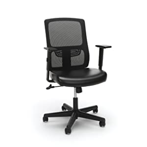 Essentials Ergonomic Task Chair - Mesh Back and Leather Seat with Arms, Black