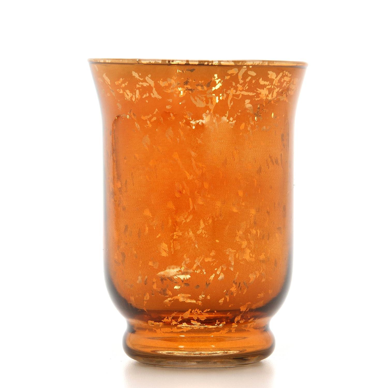 Hosley's Metallic Orange Glass Hurricane Candle Holder, Lantern / Sleeve- 6 High. Ideal Gift for Wedding, Party Favor, Spa, home, Bridal, Reiki, Meditation. HG Global