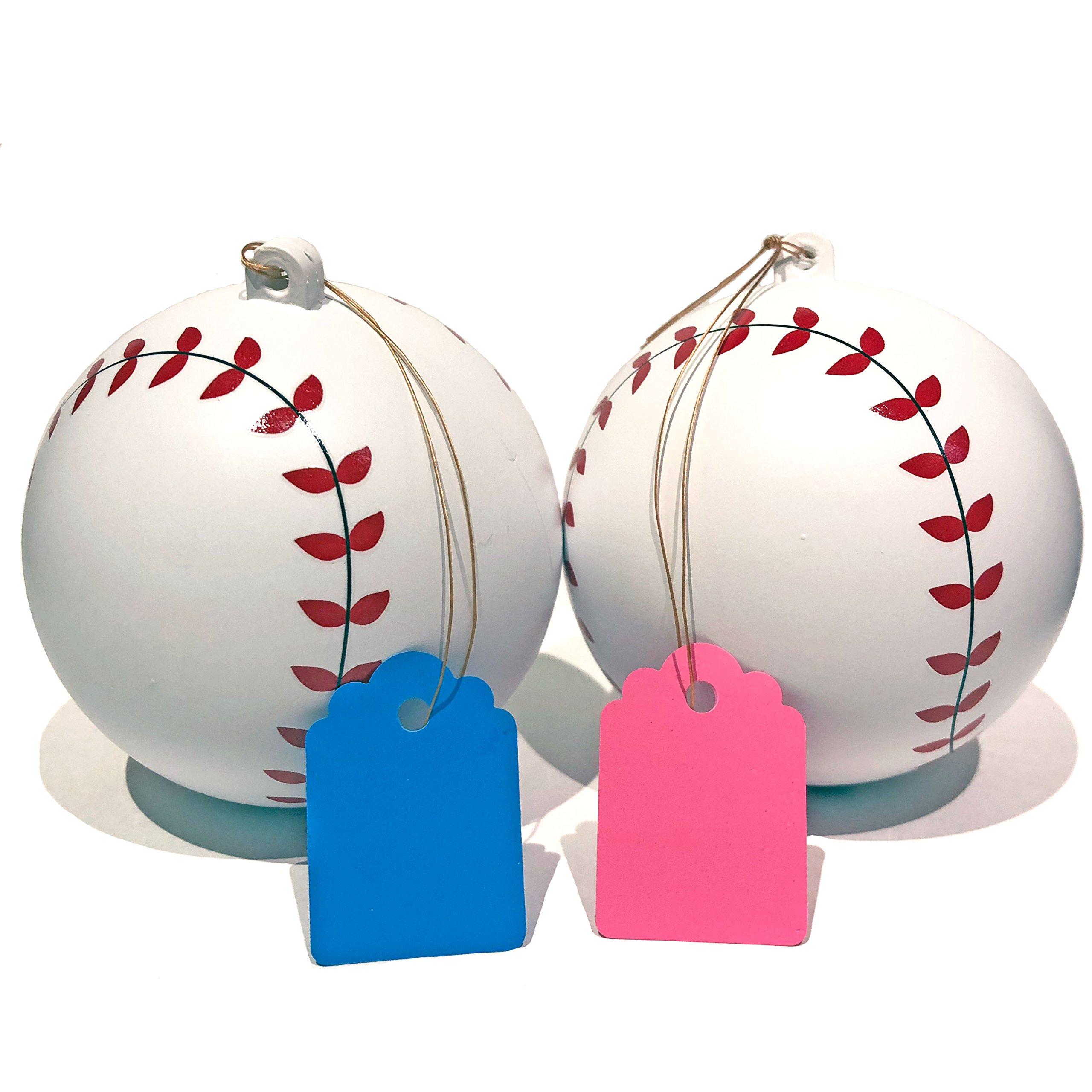 Gender Reveal Baseballs (Set of 2) | Blue + Pink Gender Reveal Party Supplies