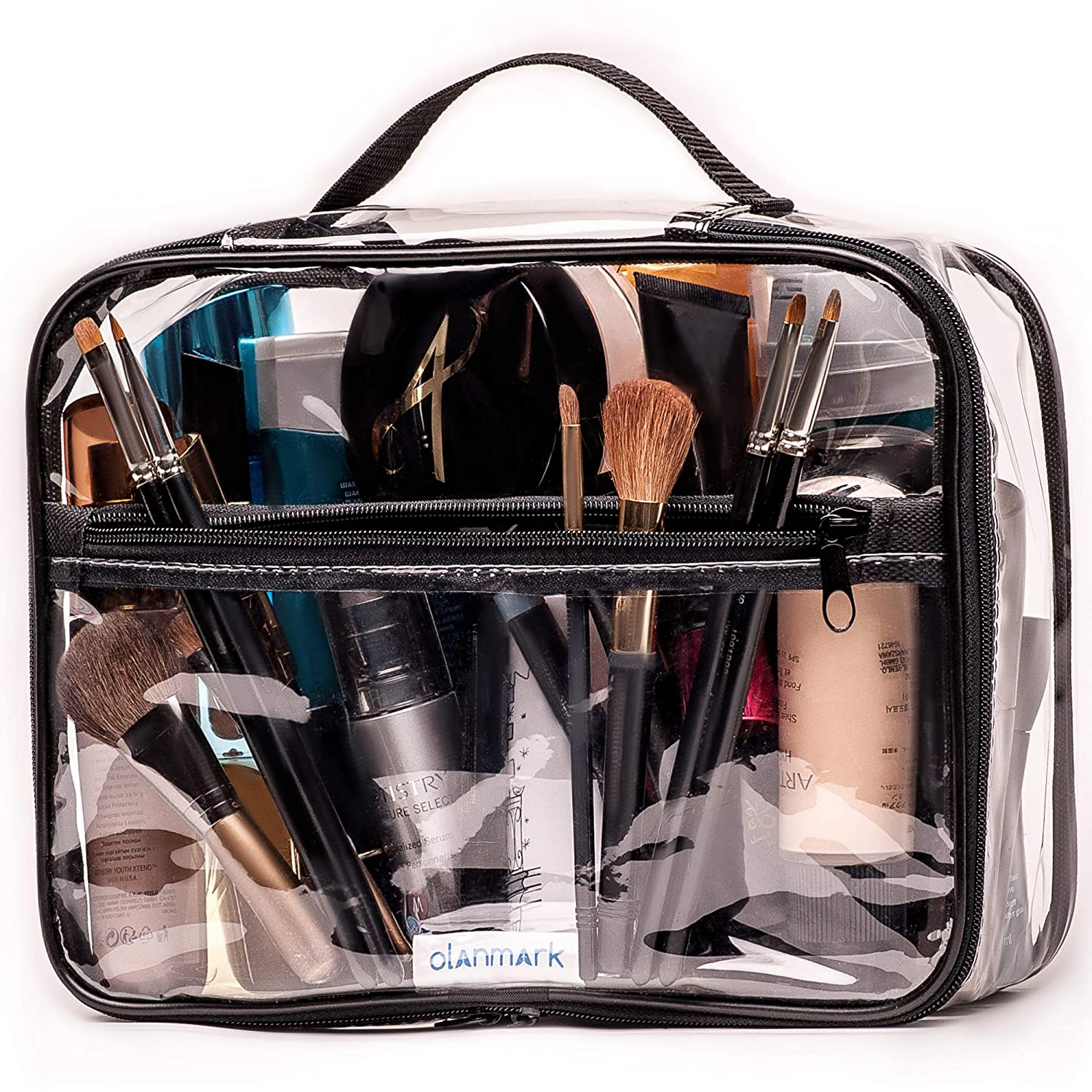 Clear Toiletry Bag – PVC Makeup Bag – Large Transparent Cosmetic Travel Case - See Through Packing Cube with Handle - Clear Bag with Zipper - Plastic Storage Pouch for Women